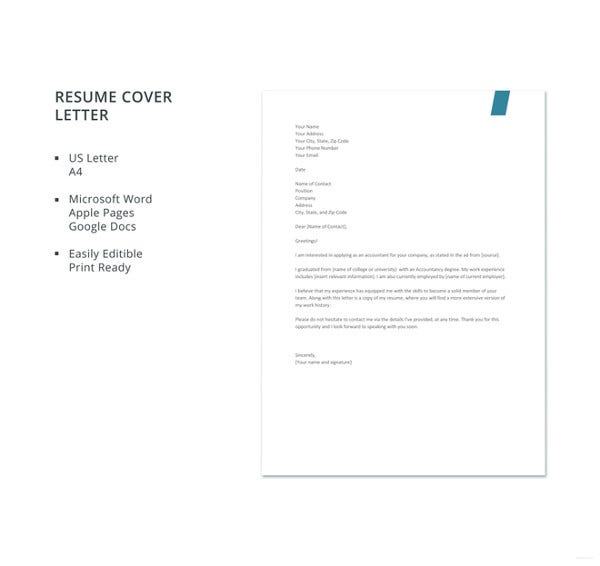 Experienced Accountant Resume Cover Letter Template. Free Download
