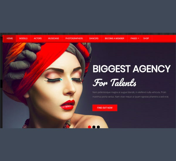 fashion model agency wordpress cms theme