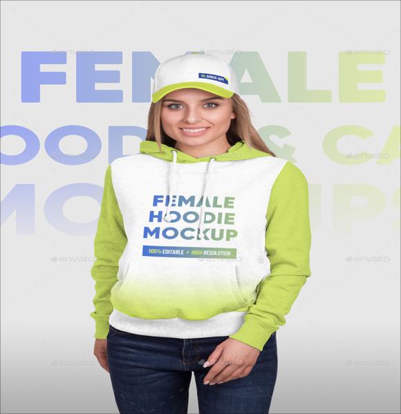 female hoodie and baseball cap
