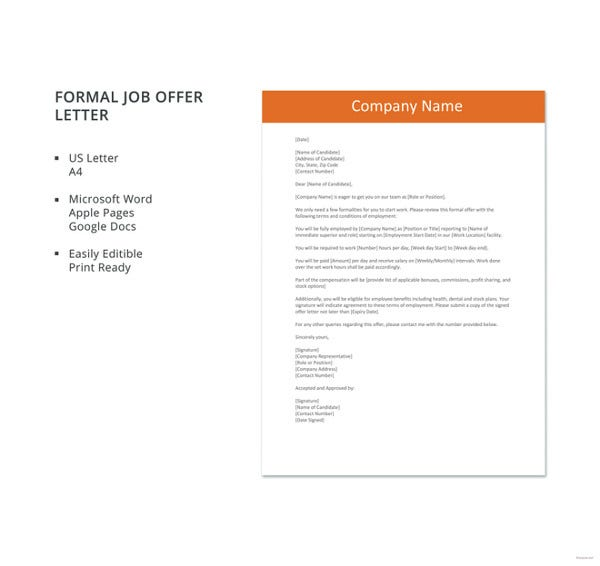 formal job offer letter template