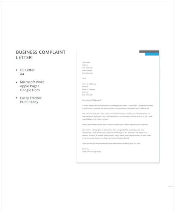free-business-complaint-letter-template