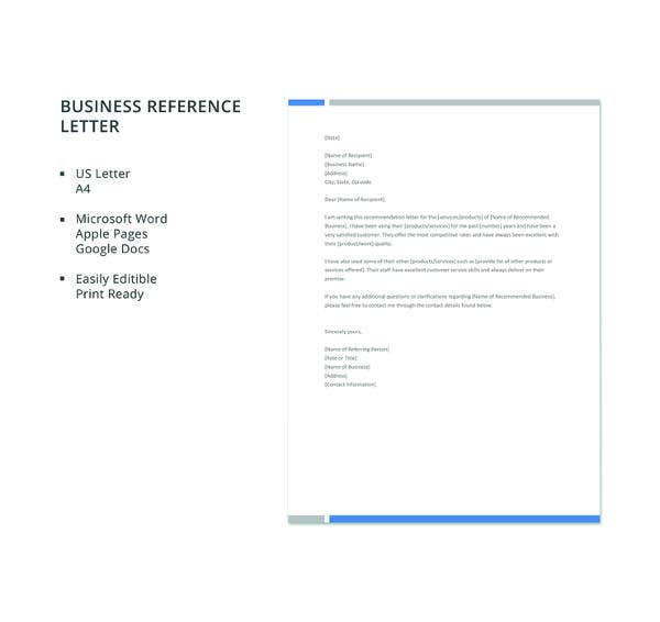 free business reference letter template