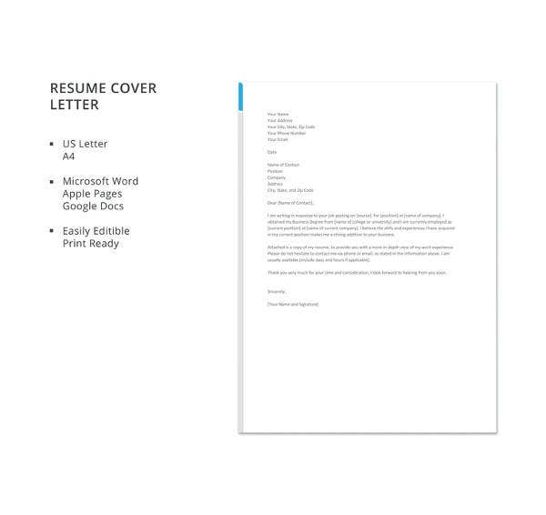 free business resume cover letter template