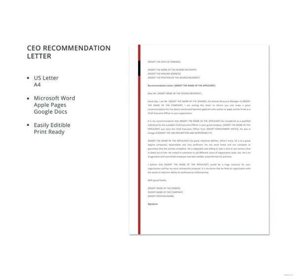 free-ceo-recommendation-letter-template