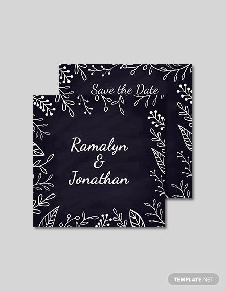 free chalk board wedding invitation template