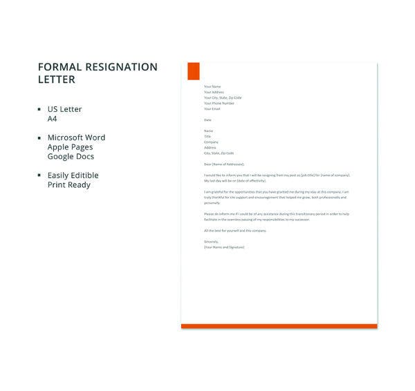 free formal resignation letter template1