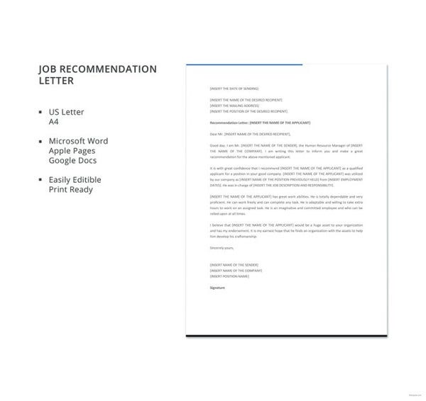 free-job-recommendation-letter-template
