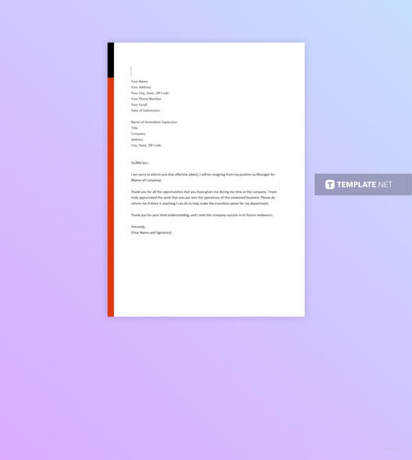 free manager resignation letter template