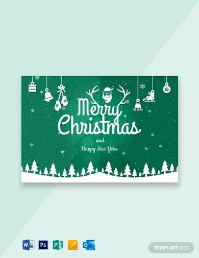 free modern merry christmas card template