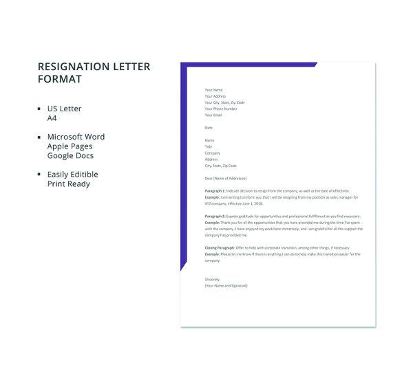 free resignation letter format2