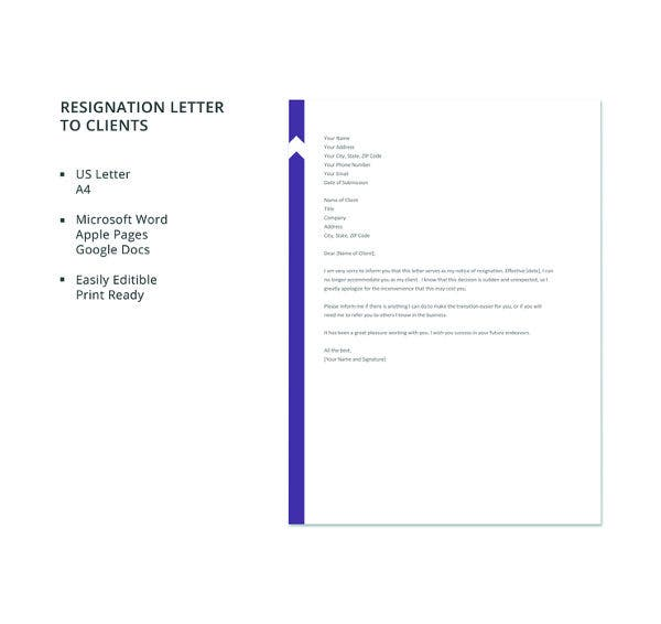 free resignation letter to client template