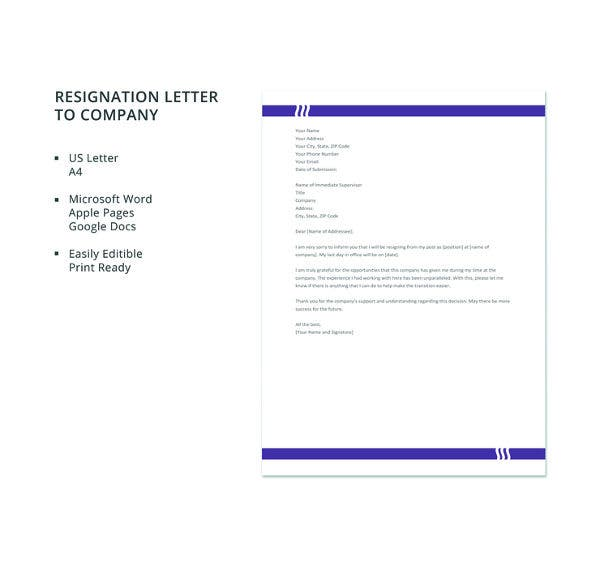 free resignation letter to company