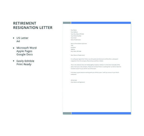 free retirement resignation letter template1