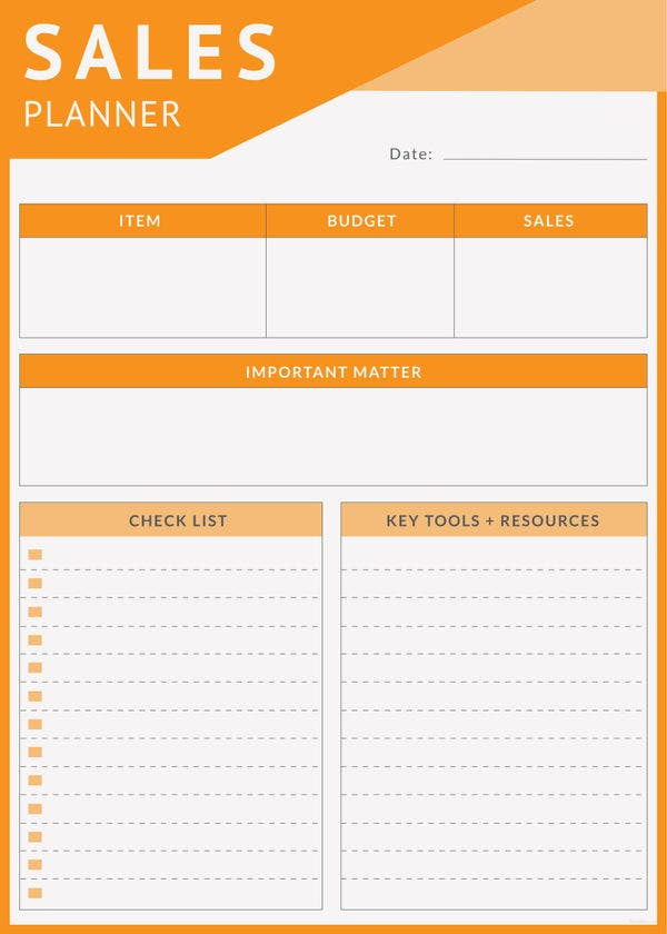 4  daily sales planner templates