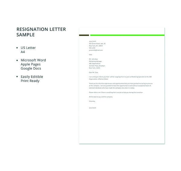 23 professional resignation letter templates pdf doc free sample resignation letter template spiritdancerdesigns Images