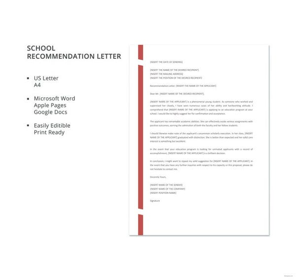 free-school-recommendation-letter-template