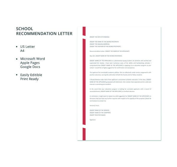 free school recommendation letter template1