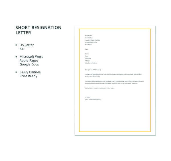 free short resignation letter template1