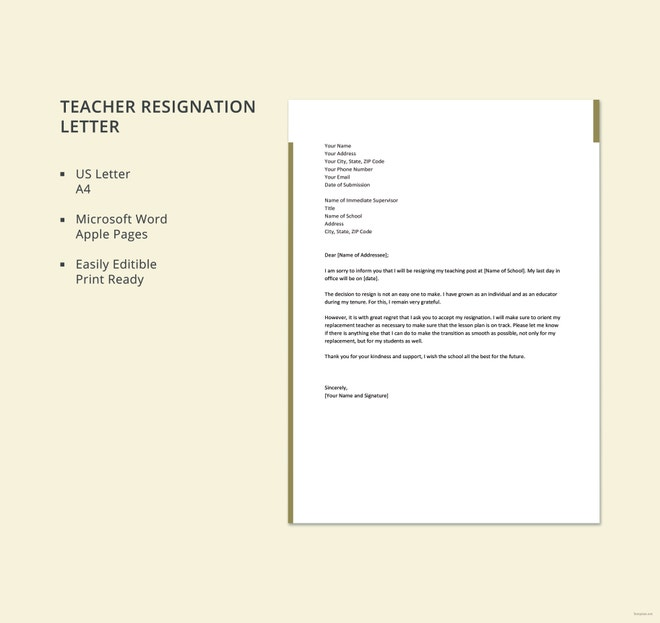 10 teacher resignation letter template free word excel pdf free teacher resignation letter expocarfo Choice Image