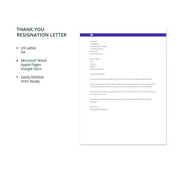 free thank you resignation letter template1