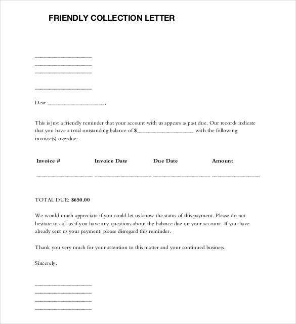 Past Due Letter Friendly Collection Letter Sample Friendly Letter