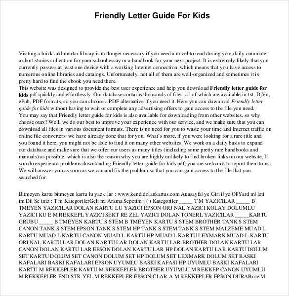 friendly letter guide for kids