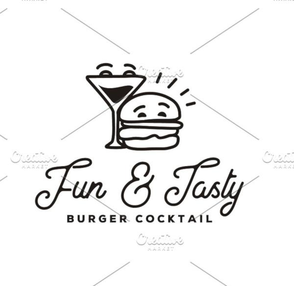 funny burger cocktail logo design