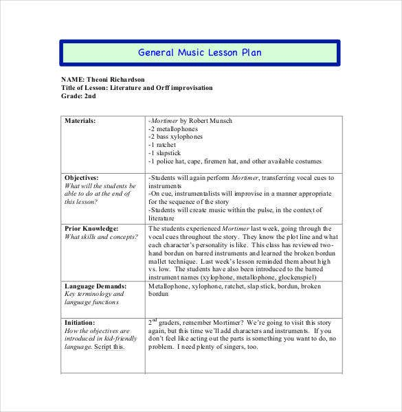 general music lesson plan in pdf
