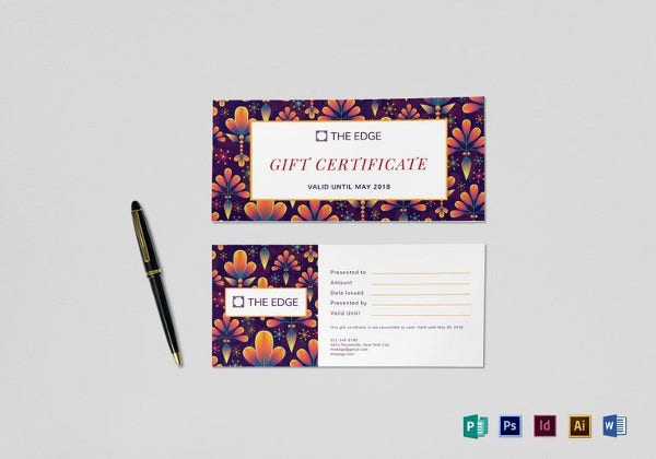 gift certificate indesign template