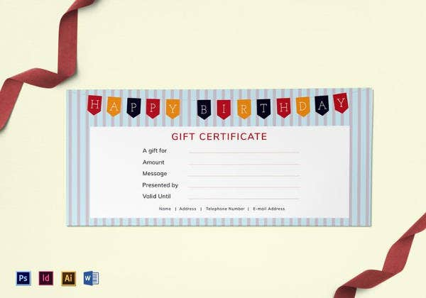Best gift certificate templates 38 free word pdf photoshop happy birthday gift certificate template yadclub Image collections