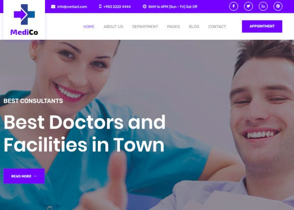 health medical bootstrap 4 template