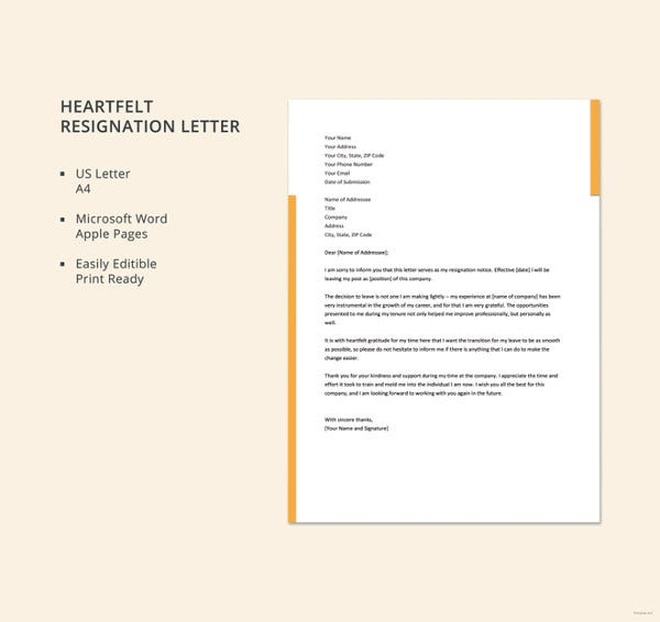 heartfelt resignation letter template