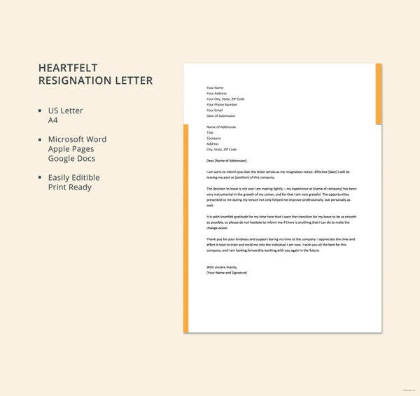 heartfelt resignation letter template1