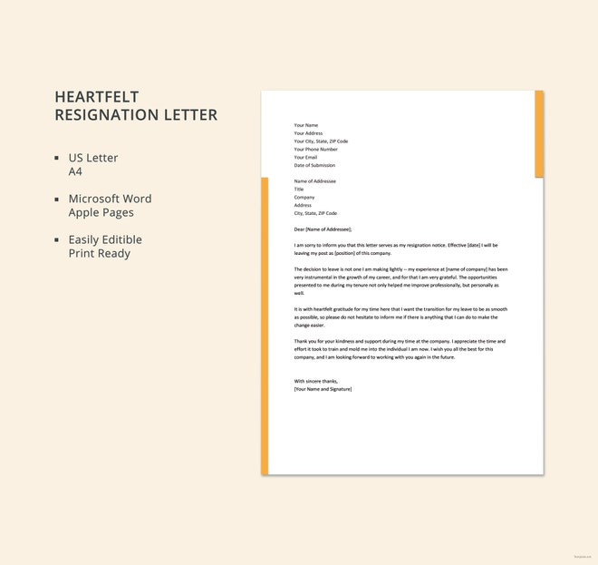 heartfelt resignation letter in word and ipage