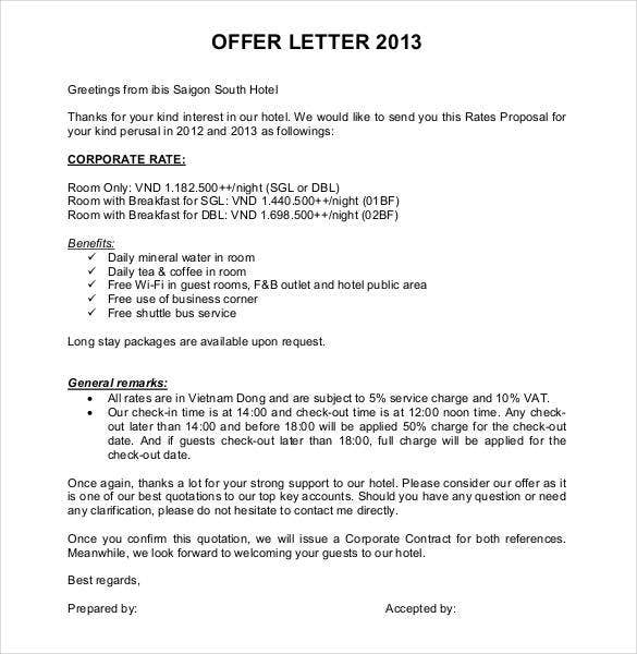 Offer Letter Template - 50+ Free Word, Pdf Format | Free & Premium