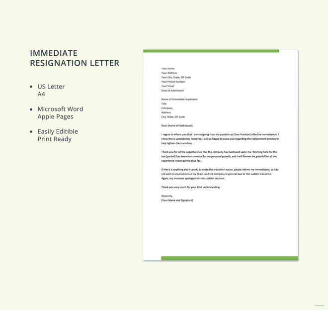 Immediate Resignation Letter Template – 8+ Free Word, Excel, PDF ...