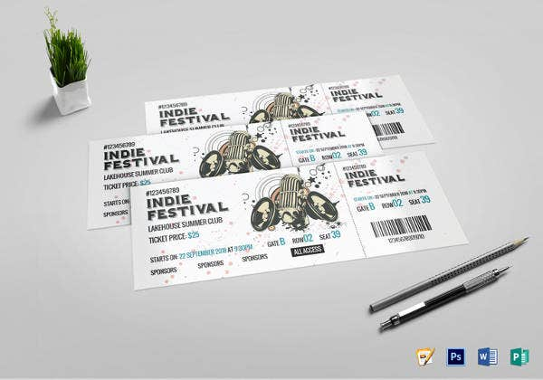 indie festival ticket psd template