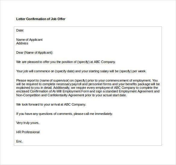 Offer letter template 62 free word pdf format free premium job confirmation offer letter format in word yelopaper