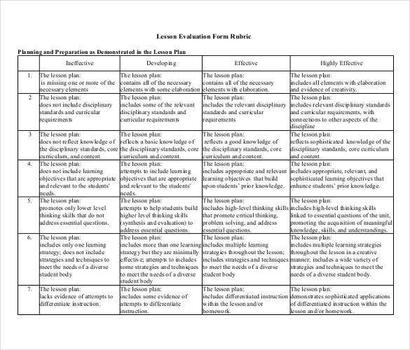 lesson-evaluation-rubric-form