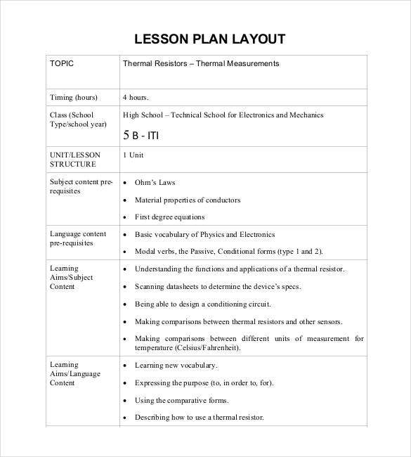 lesson plan layout