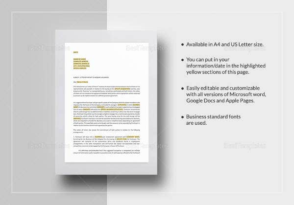 letter of intent acquisition of business template