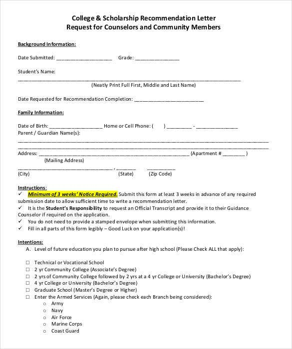 Recommendation Letters For Scholarship | 27 Letters Of Recommendation For Scholarship Pdf Doc Free
