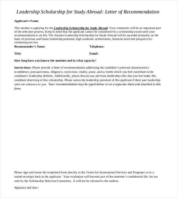 letter of recommendation for leadership scholarship