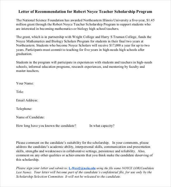 Letters Of Recommendation For Scholarship - 26+ Free Sample