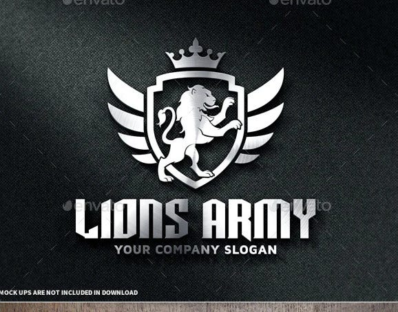 lions army logo template
