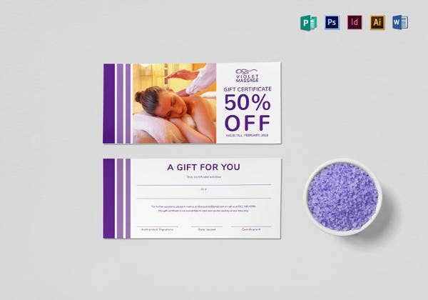 massage gift certificate design template