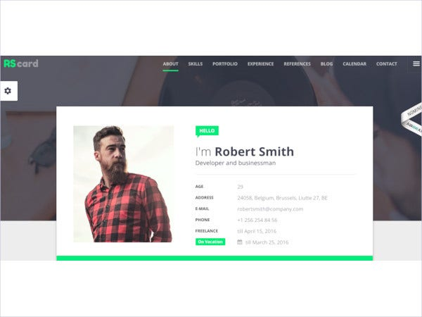 material resume vcard