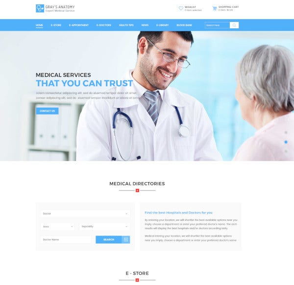 medical directory psd blog template