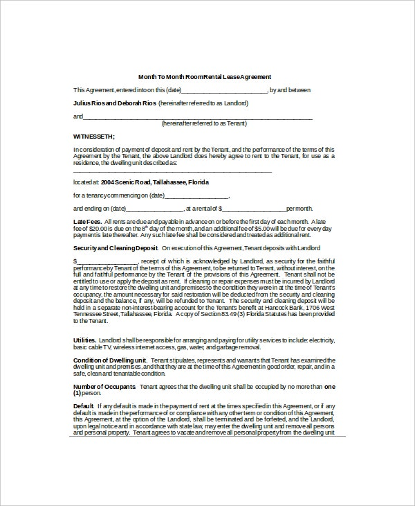 month to month room rental lease agreement1