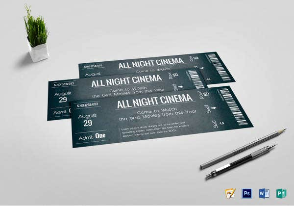 night cinema chalkboard ticket template